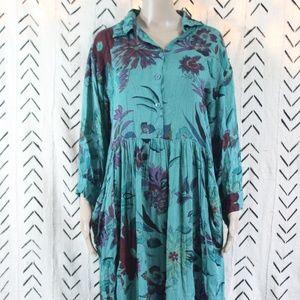 Vintage Button Maxi Dress Floral Teal Size 2